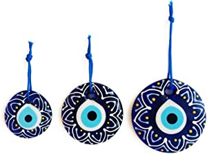 Erbulus Turkish Blue Evil Eye Wall Hanging Ornament – Turkish Nazar Beads - Triple Evil Eye with Floral Design Home Protection Charm Set of 3 - Wall Art Decor Amulet in a Box