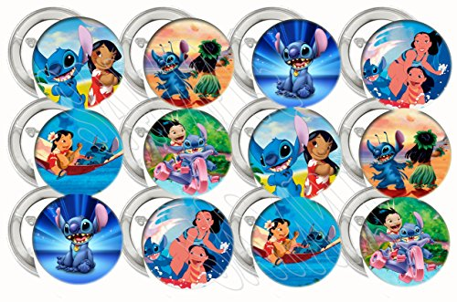 (Lilo and Stitch Party Favors Supplies Decorations Collectible Metal Pinback Buttons, Large 2.25
