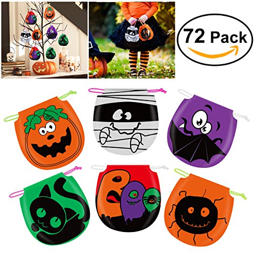 Halloween Candy Bags Drawstring Kids Trick or Treat Bags, Pack of 72 - Cute Halloween Goody Bags