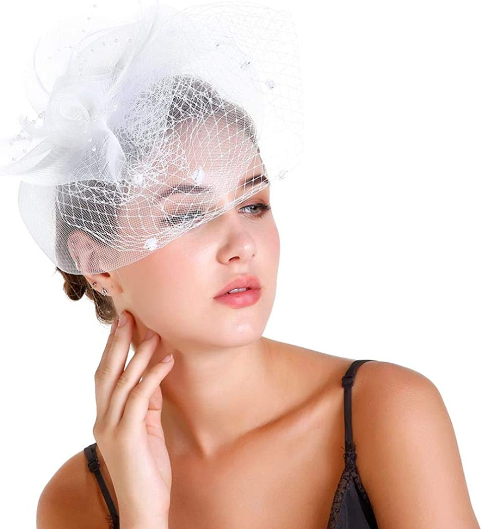 momiloeUS Women Retro Feather Mesh Veil Headpiece Flower Bridal Veil Fascinators