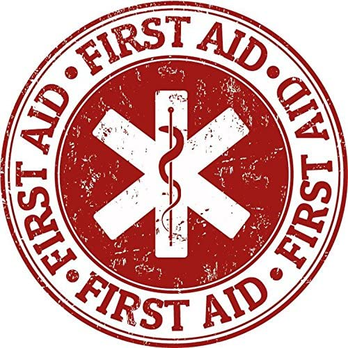 2 x FIRST AID CIRCLE SMALL SELF ADHESIVE STICKERS SAFETY SIGNS BUSINESS