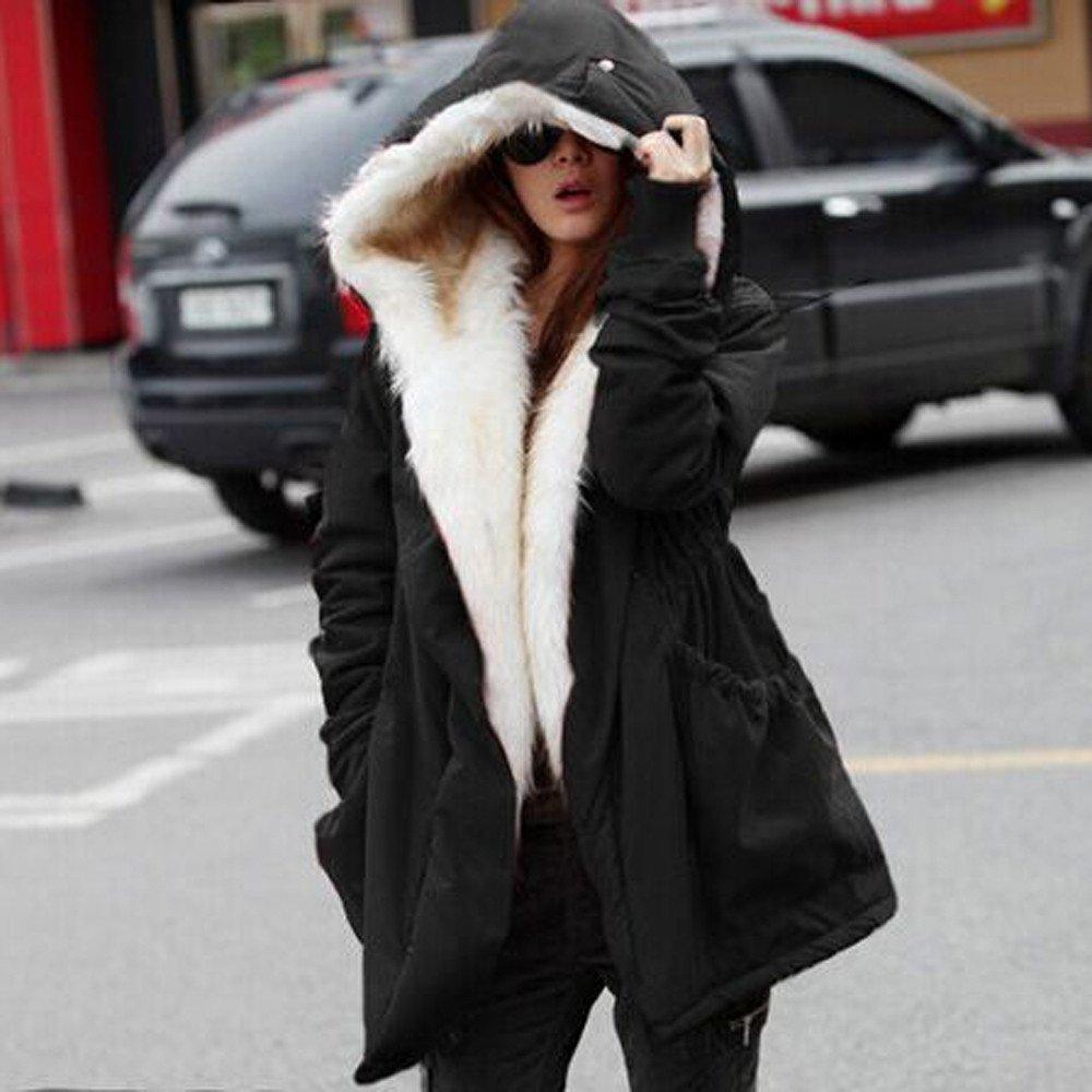 MERICAL Femmes Hiver Chaud /Épais Polaire Manteau en Fausse Fourrure Veste Parka /À Capuche Trench Outwear