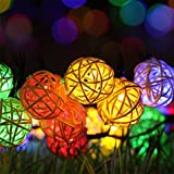 Solar Outdoor String Lights,30 LED Rattan Ball Lamp Waterproof Fairy Lights Decorative Solar String Lights for Home, Lawn, Wedding, Patio, Party and Holiday Decorations,Colorful