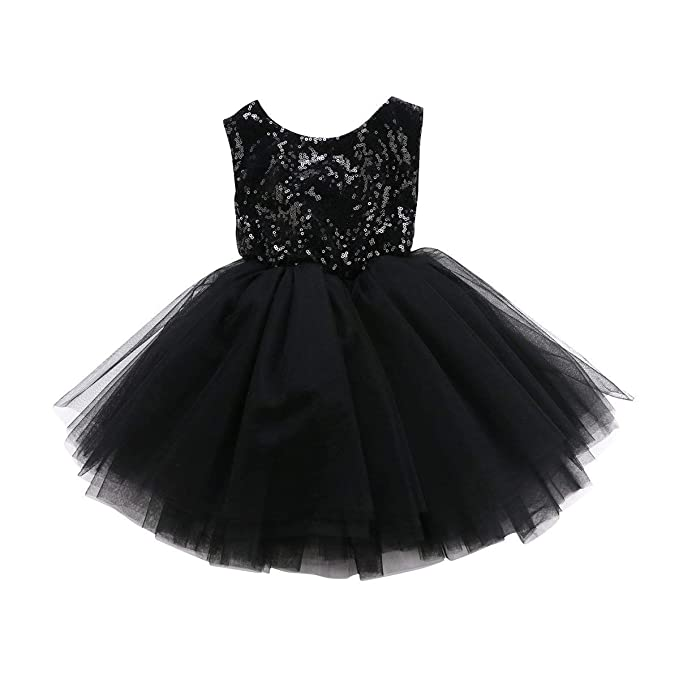 dc186445a98b7 YOUNGER TREE Toddler Baby Girls Dress Sleeveless Sequins Party Dresses  Princess Lace Tulle Tutu Dress Black