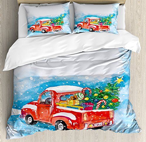 Ambesonne Christmas Duvet Cover Set, Vintage Red Truck in Sn