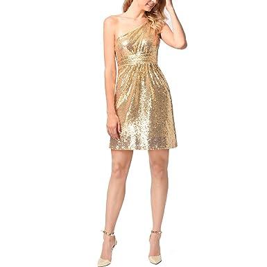 Zhuhaitf Charming Gold Sequins Party Dancing Dress Bodycon Mini Dress Off Shoulder Skirt Dresses for Women