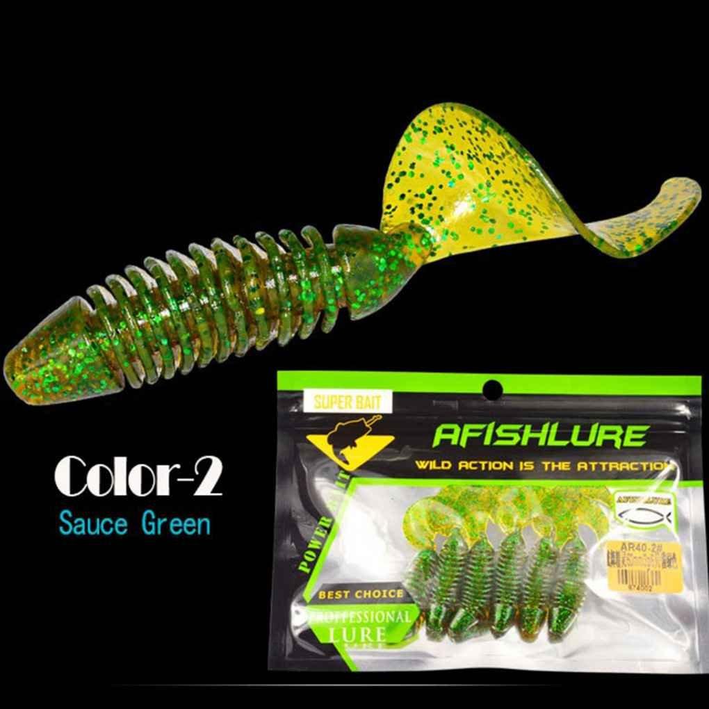 Sunlera 6pcs//set Curly Tail Grub souple 60mm//3g jerkbait Wobbler Jigging capucins asticots p/êche app/ât app/ât silicone