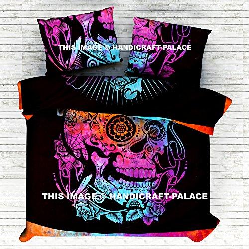 HANDICRAFT-PALACE Indian Reversible Mandala Queen Bed Set Hippie Skull Head Blanket Duvet/Doona/Blanket/Quilt Cover Set Double/Queen Size Bed Cotton
