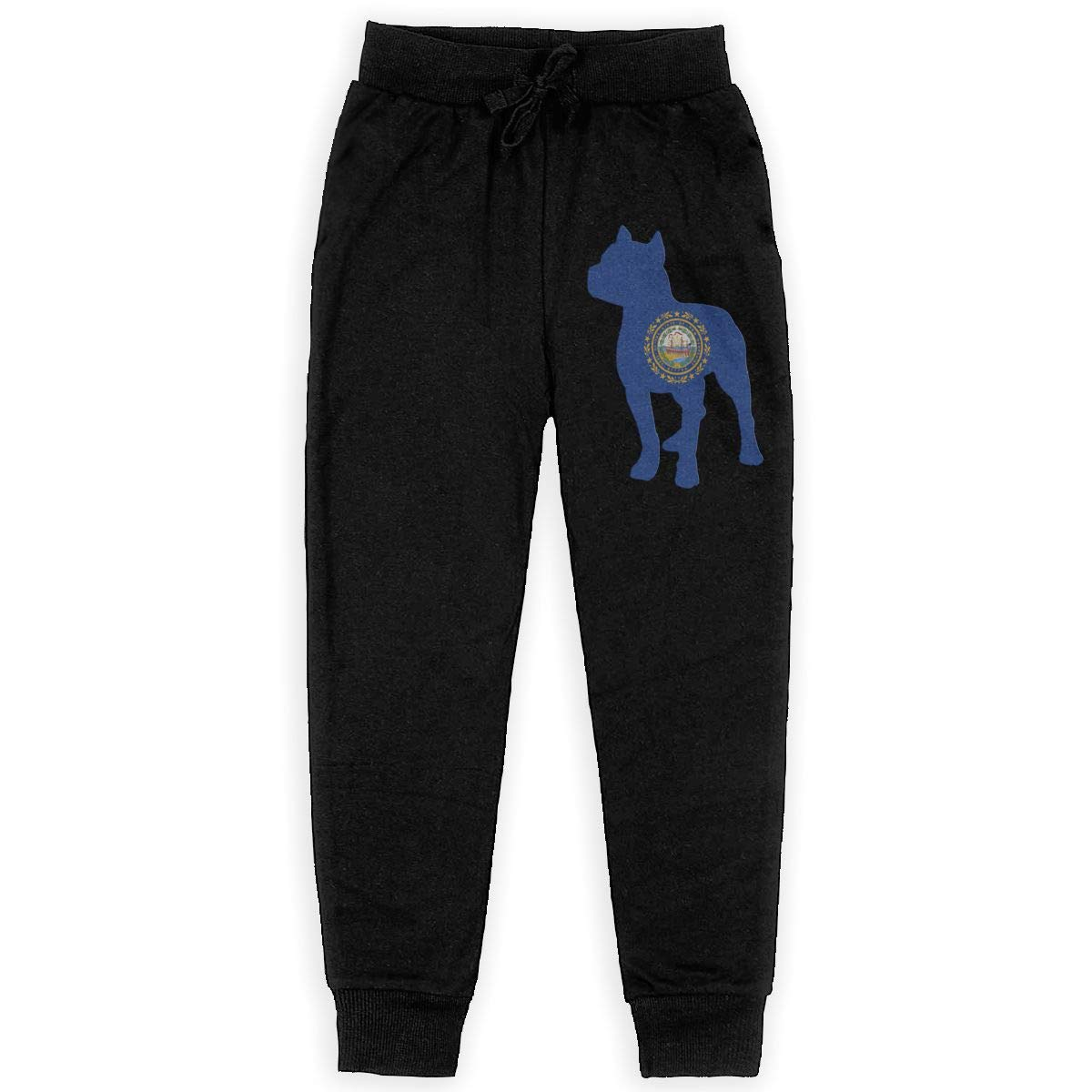 Teenager Warm Fleece Active Pants for Teenager Boys WYZVK22 Patriotic Pitbull Hampshire State Flag Soft//Cozy Sweatpants