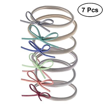 FRCOLOR 7pcs elástico nylon diademas lazos, elástico nylon pelo ...