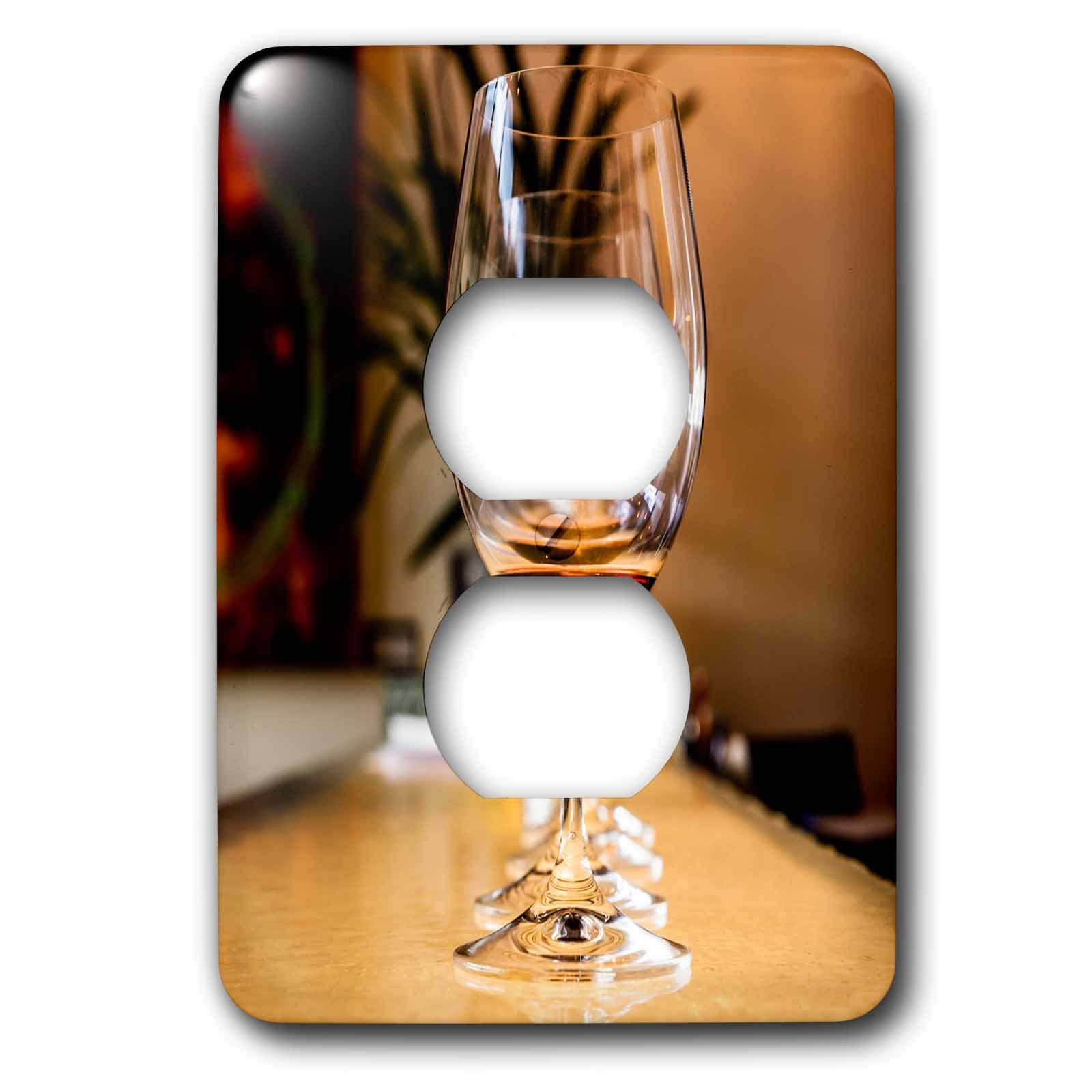 3dRose Danita Delimont - Beverages - Usa, Washington, Wine glasses aligned on counter. - Light Switch Covers - 2 plug outlet cover (lsp_260513_6)