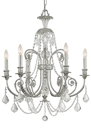 Crystorama 5116-OS-CL-MWP Crystal Accents Six Light Chandeliers from Regis collection in Pwt, Nckl, B S, Slvr.finish,