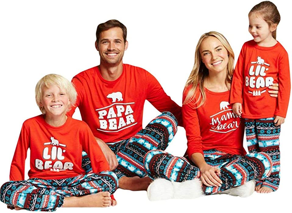 Amazon.com: Christmas Pjs Papa Mama Kids Baby Bear Matching Family ...