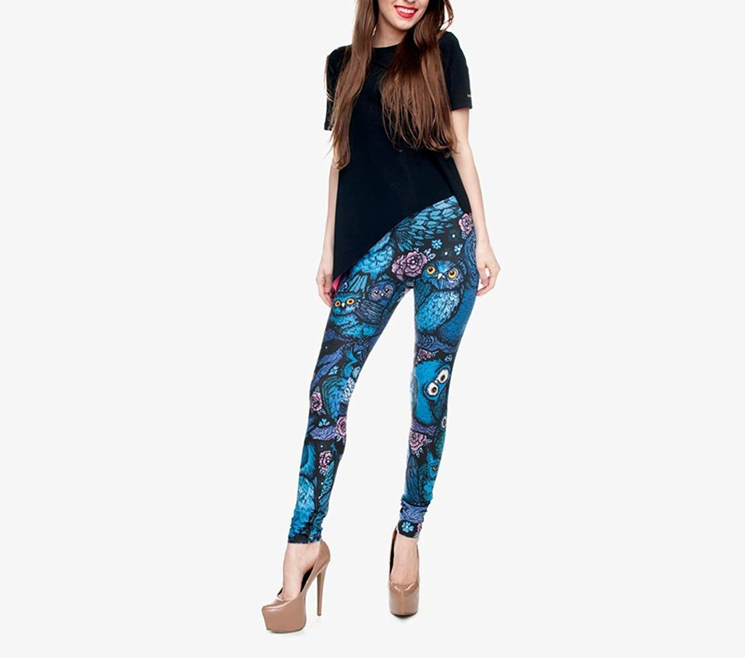 Night Owl Full Printing Pants Women Clothing Ladies Fitness Stretchy Trousers Skinny