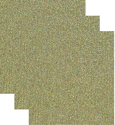- Siser Glitter Heat Transfer Vinyl HTV for T-Shirts 10 by 12 Inches (1 Foot) 3 Precut Sheets (Gold Confetti)