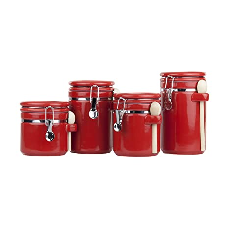 Home Basic 4 Piece Ceramic Canister Set With Spoon, Red