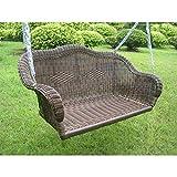International Caravan 3183-WT-IC Furniture Piece Resin Wicker Hanging Loveseat Swing