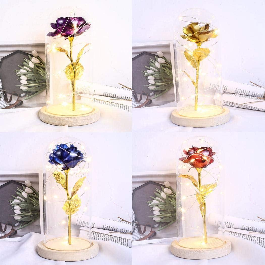 Fleur rose artificielle dans un d/ôme en verre avec des lumi/ères LED sur socle en bois Cadeau pour la d/écoration de la maison Saint Valentin Meihet La belle et la b/ête rose