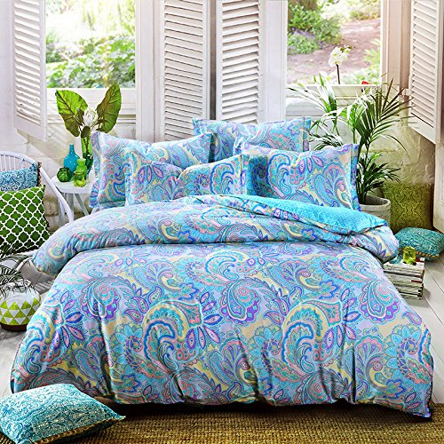TheFit Paisley Textile Bedding for Adult U559 Multi Color Boho Bohemian Duvet Cover Set 100% Cotton, Queen Set, 4 Piece by TheFit