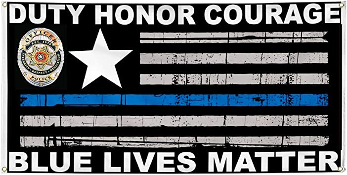 Vinyl Banner Sign Police Officers Blue White Lifestyle Marketing Advertising Blue One Banner 44inx110in Multiple Sizes Available 8 Grommets
