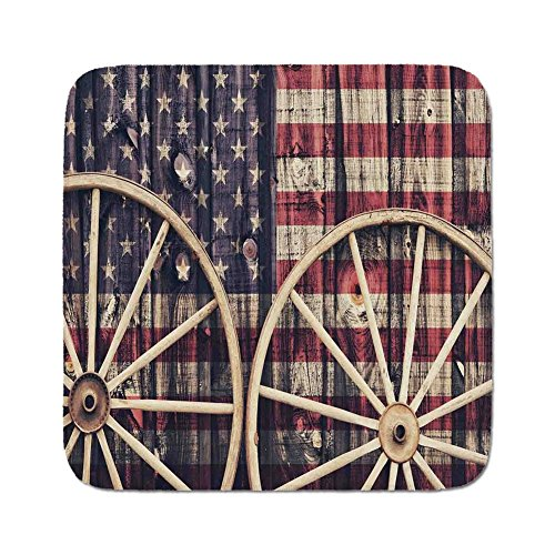 Cozy Seat Protector Pads Cushion Area Rug,Western,Big Antique Cart Carriage Wheels with American Flag in Retro Vintage Colors New World Print,Multi,Easy to Use on Any Surface (Battery Print Cart)