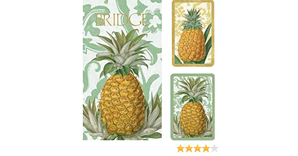 Royal Pineapple Caspari-Toys GS114 Entertaining with Caspari Bridge Playing Card Gift Set
