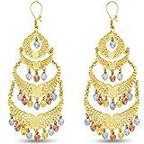 14k Tri 3 Color Gold Diamond-Cut Fancy Chandelier Dangle Hanging Drop Earrings (36x 80mm)