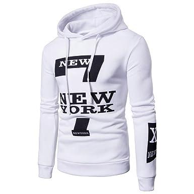 Logobeing Camisas Hombre Manga Larga, New York Sudadera con Capucha para Hombres (M,