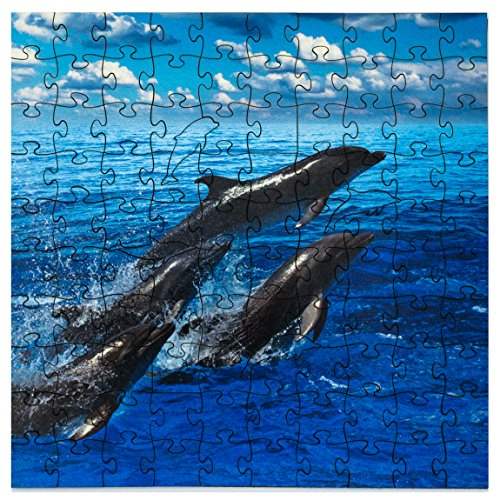 (Mosaic Puzzles Wooden Jigsaw Puzzle – Dolphins Jumping – 104 Unique Pieces Challenge Any Puzzle Lover from Ages 8 to 98 – Made in The USA by Zen Art & Design)