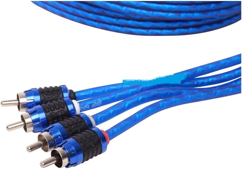 NEW STINGER SI6417 17 FOOT 4 CHANNEL TWISTED PAIR RCA INTERCONNECT CABLES 17FT