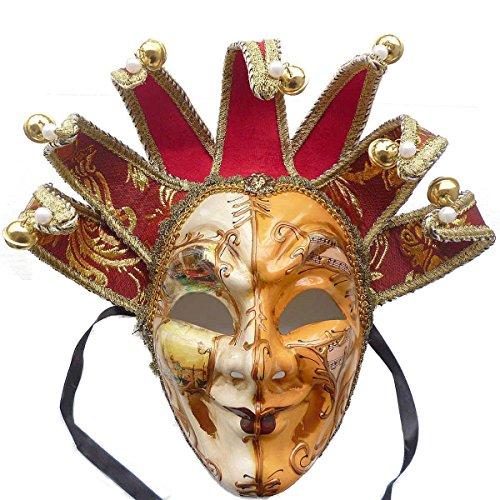 [Full Face Venetian Jester Masquerade Decorative Wall Mask, Mardi Gras] (Venetian Mask Points)