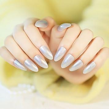 Amazon Yunai 24 Pcsset Silver Fake Nail Tip Long Design Full