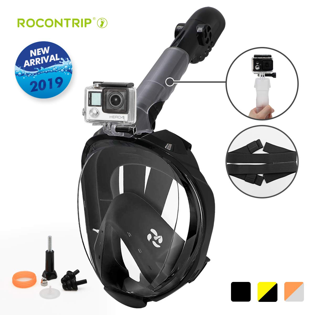 ROCONTRIP Snorkel Mask Full Face Panoramic 180/°View Design Newest Breathing System Dry Top Set Anti-Fog Anti-Leak for Perfect Diving 2019 Safety Upgraded Version