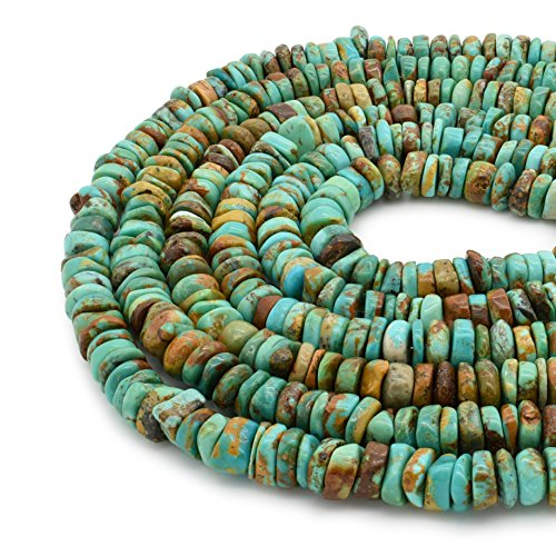 Bluejoy Genuine Natural American Turquoise 8mm Free-Form Disc Bead 16 inch Strand for Jewelry - Strand Necklace Turquoise Single