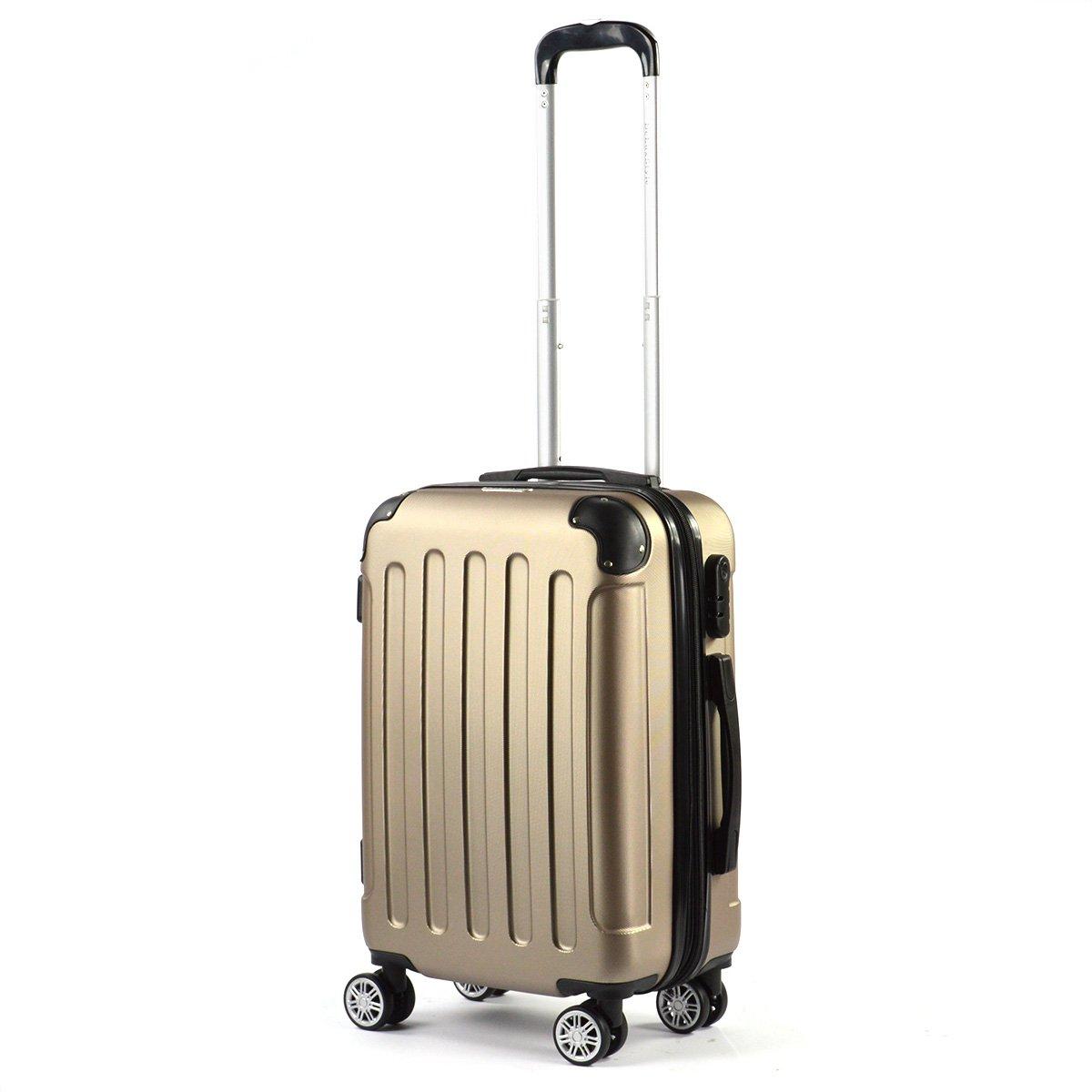 Flexot Handgepä ck - Trolley - Bordcase S - Koffer - Reisekoffer - Hartschale - mit Dehnfalte (Erweiterung), Doppelgriff, Zwillingsreifen, Champagne Flexot-S-Champagne