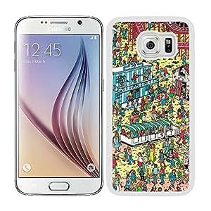 Funda carcasa para Samsung Galaxy S6 diseño estampado busca a Wally 1 borde blanco