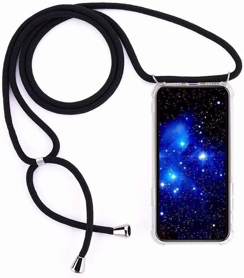 Bigcousin Funda con Cuerda Compatible con Xiaomi Redmi S2,Transparente de TPU con Ajustable Collar Cadena Cordón,Negro