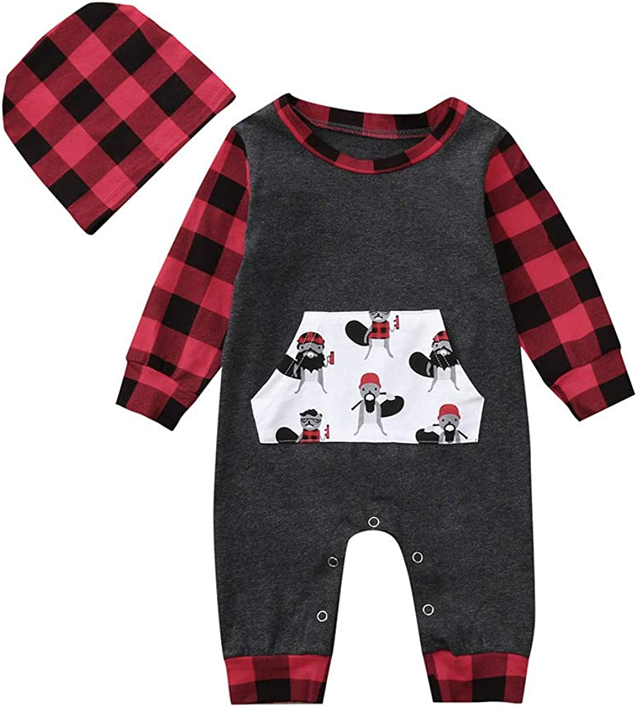 Hstore Baby Boys Girls Romper Cartoon Red Plaid Jumpsuit Hat Set Clothes HOT