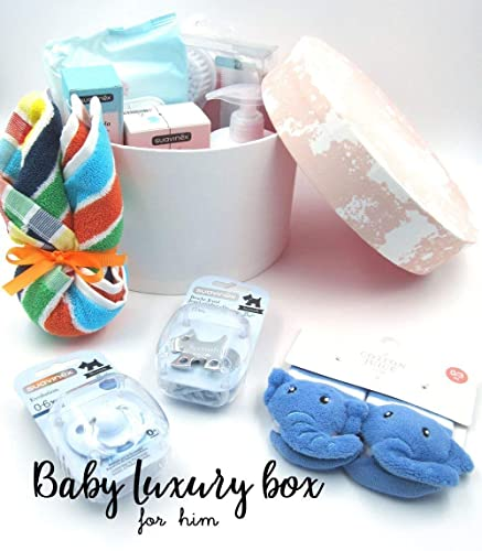 """Canastilla""""Maxi Box per Baby Boy"""" con 16 Accesorios de marca (Suavienx,"""