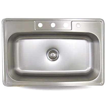 Sink Smart 968 4 | 33 Inch Single Bowl | Drop In | Stainless Steel Kitchen  Sink     Amazon.com