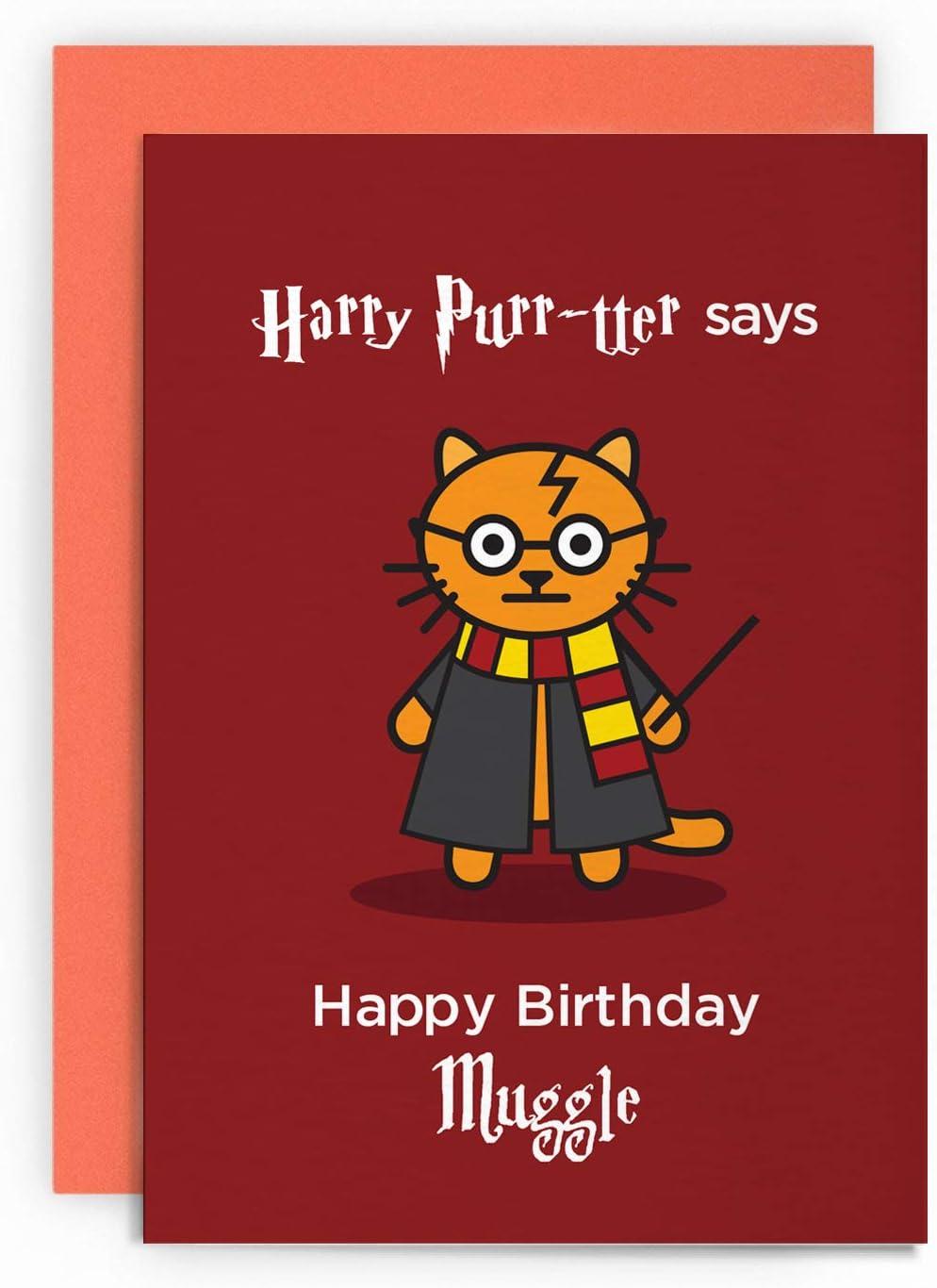 ideal para novio Harry Purr-TTER Happy Birthday Muggle divertida marido o esposa novia Tarjeta de cumplea/ños para amantes de los gatos y de Potter