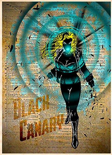 (Black Canary, Green arrow splatter art, superhero decor, cool pop art, vintage dictionary art print)