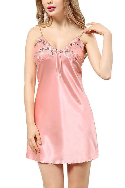 Dolamen Womens Lace Nighties Satin Dressing Gown BathRobe, Ladies Pyjamas Nightwear Nightdress at Amazon Womens Clothing store: