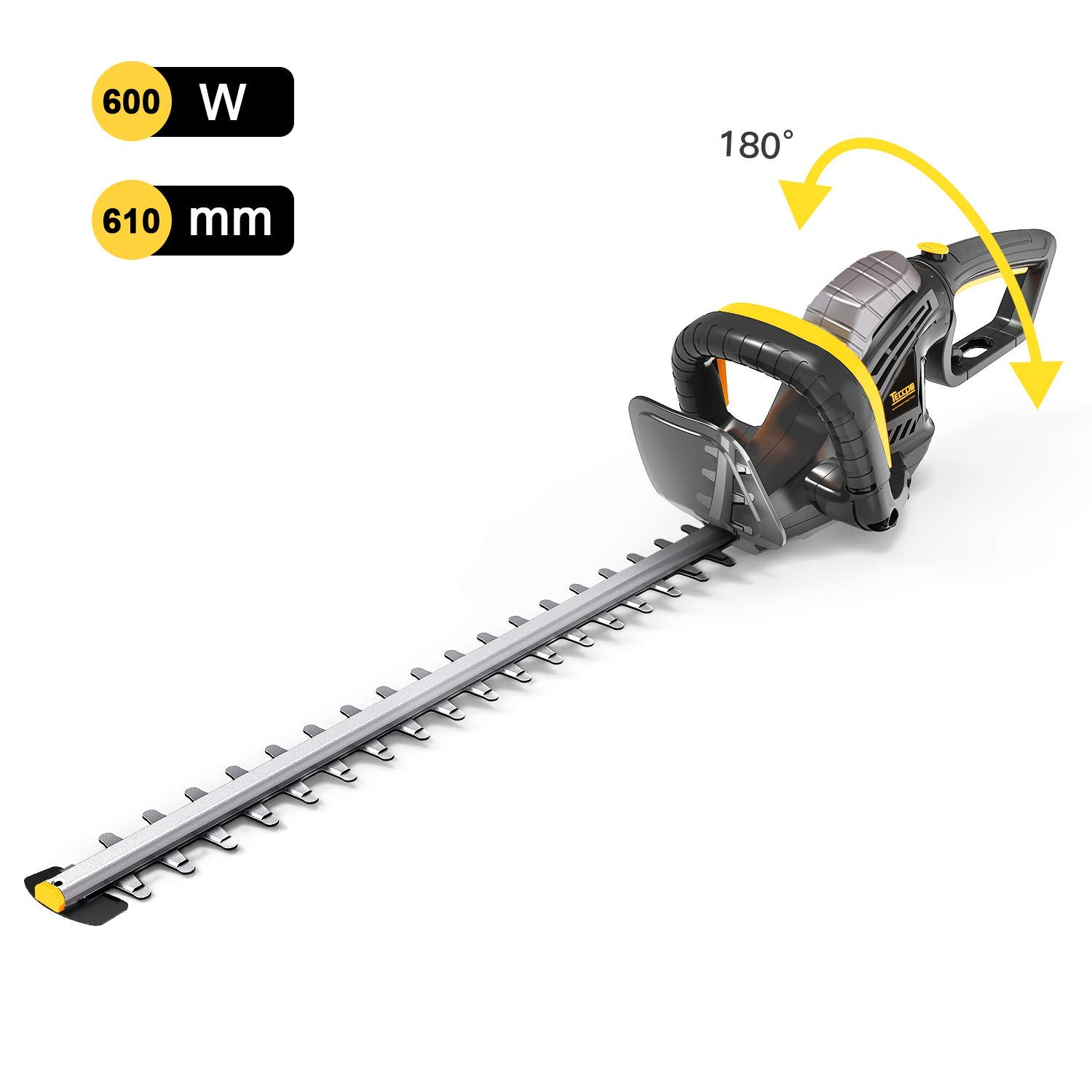 TECCPO Electric Hedge Trimmer, 600W Hedge Cutter with 180° Adjustable Rotary Handle, 610mm Blade Length, 24mm Tooth Opening, Integrated Blade Tip Protector, 10m Cable