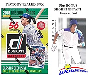 2018 Donruss Baseball EXCLUSIVE Factory Sealed Retail Box with HOLO BLUE & CRYSTAL PARALLELS Plus BONUS Shohei Ohtani ROOKIE Card! Look for Autographs of Aaron Judge,Derek Jeter,Ohtani & More! WOWZZER