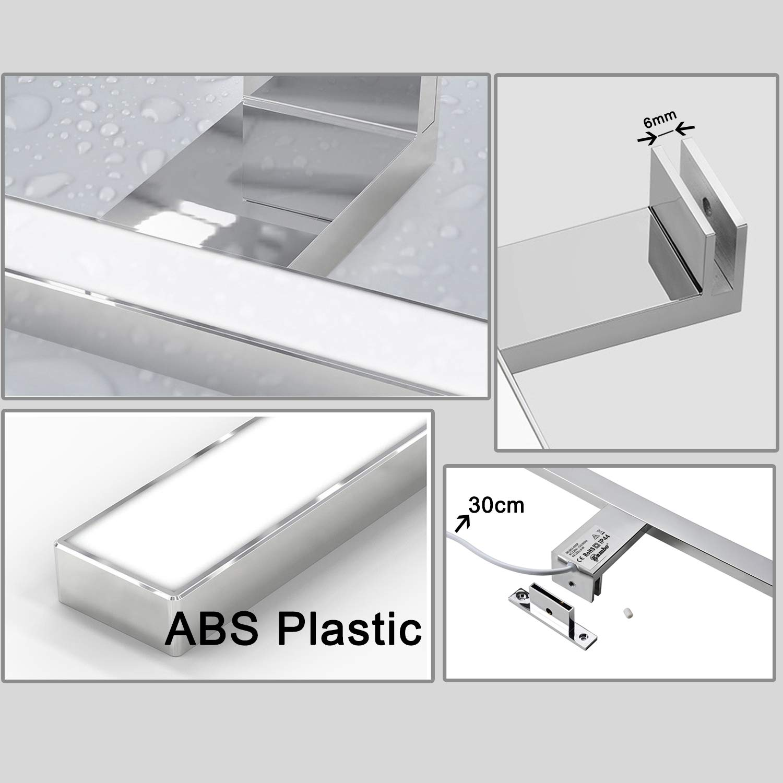 Illuminazione Bagno Impermeabile IP44 8w Bianco Neutro 4000K 640LM 60cm ABS Plastic per Illuminazione Trucco Specchio Guardaroba Parete Lampada da Specchio Bagno led Moderno Kambo