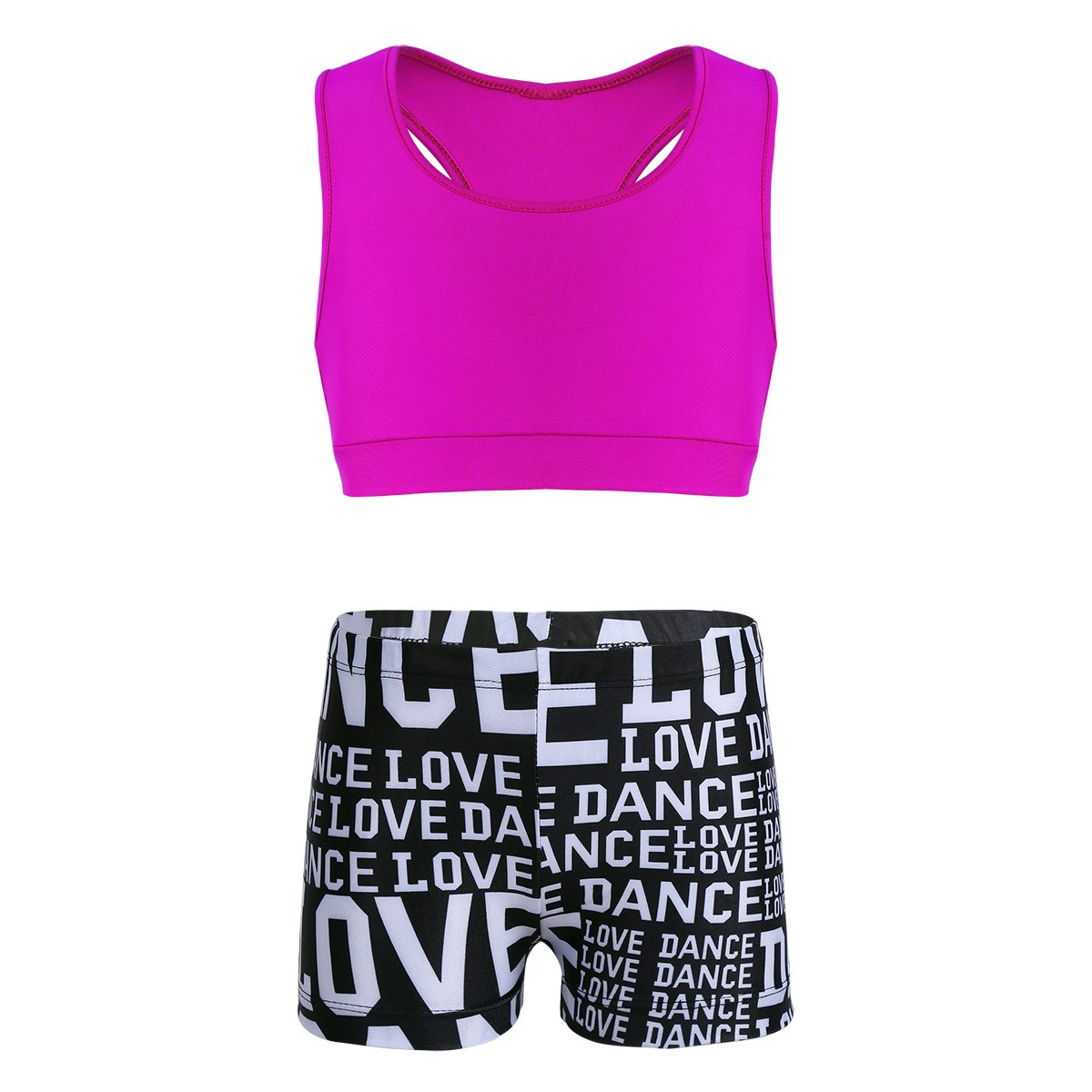 TiaoBug Kids Girls Two Piece Dance Outfit Tank Top and Boyshort Sets for Swimwear or Ballet Gymnastics Leotard