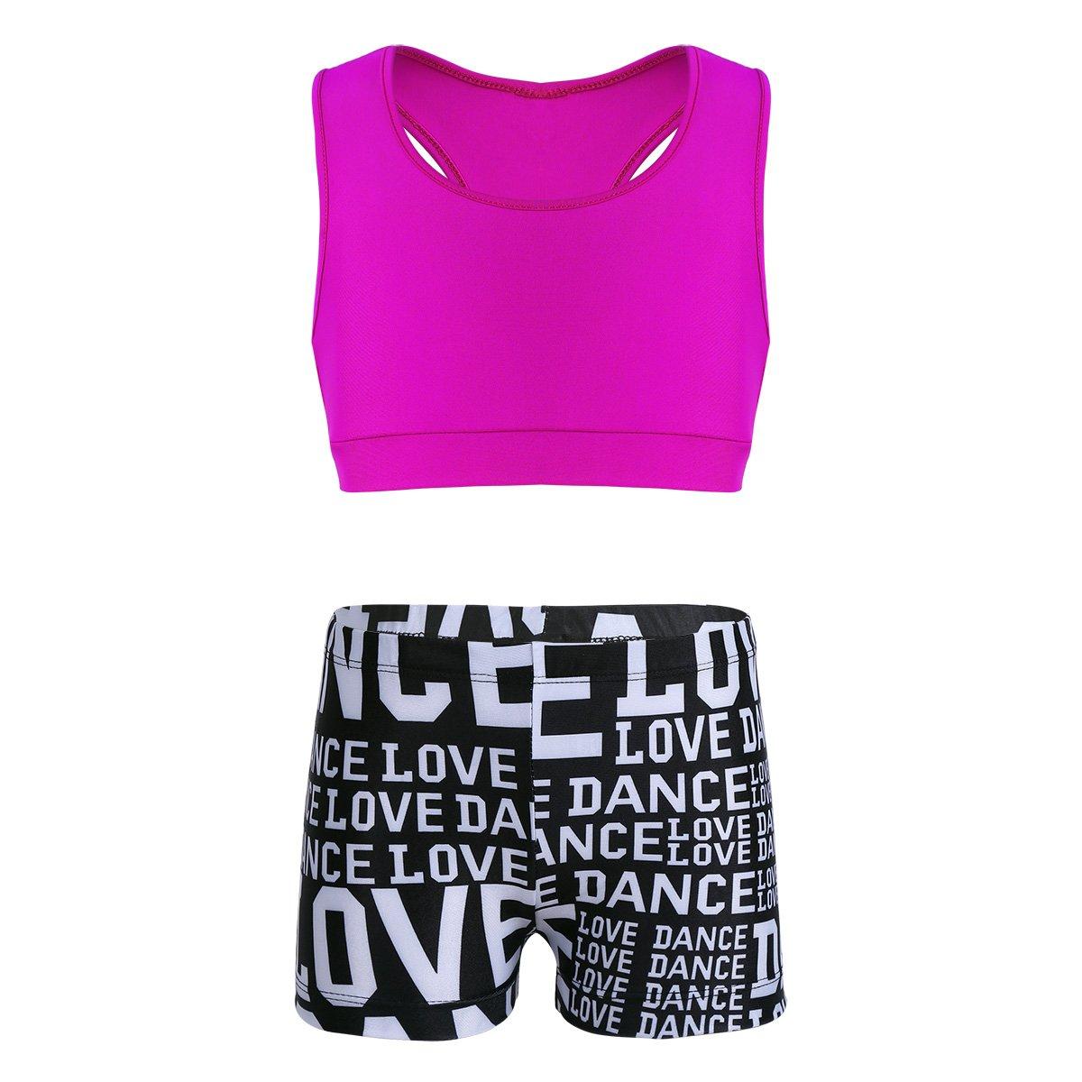 MSemis Girls' Kids 2-Piece Sport Dance Outfit Crop Top with Booty Shorts Gymnastics Leotard Dancing Swimwear Rose & Black 5-6