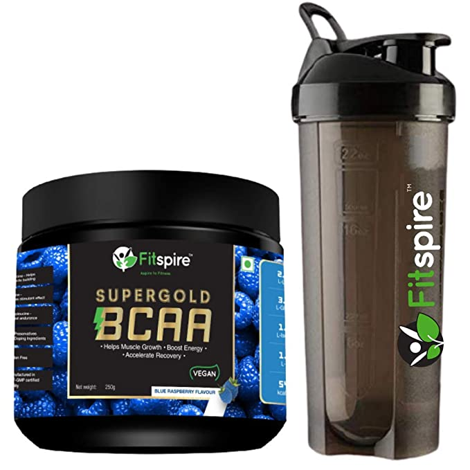 Fitspire Super Gold BCAA Protein Supplement Powder with Protein Shaker I Pre Workout I Muscle Growth & Recovery | ISO Certified- 250 g (Combo 2)