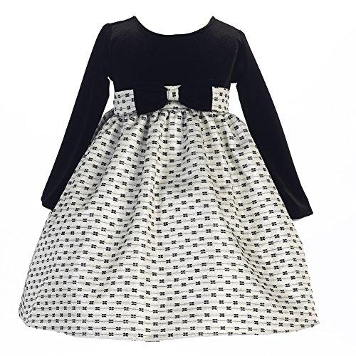 Baby Girl Velvet Bow Dress (Lito Baby Girls Silver Stretch Velvet Bows Jacquard Christmas Dress 12-18M)
